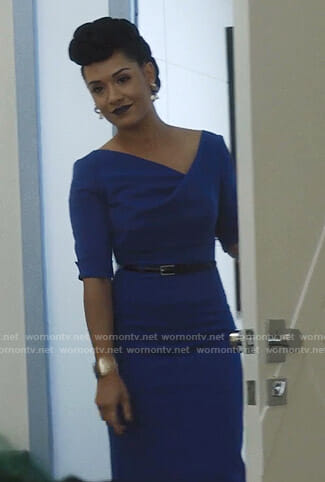 Reeva's blue v-neck sheath dress on The Gifted