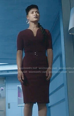 Reeva's burgundy belted dress on The Gifted