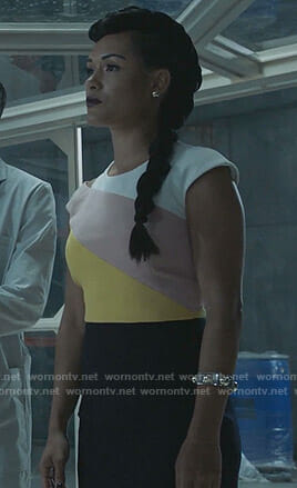 Reeva's colorblock cutout dress on The Gifted