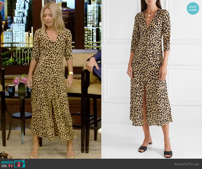 Katie leopard-print dress by Rixo London worn by Kelly Ripa (Kelly Ripa) on Live with Kelly & Ryan