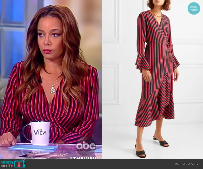 Laura Jackson Luna striped silk-crepe wrap dress by Rixo London worn by Sunny Hostin on The View
