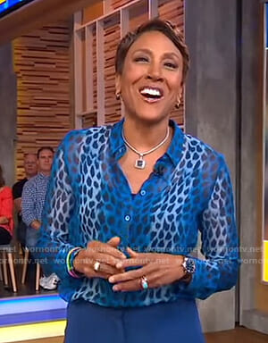 Robin's blue printed sheer blouse on Good Morning America
