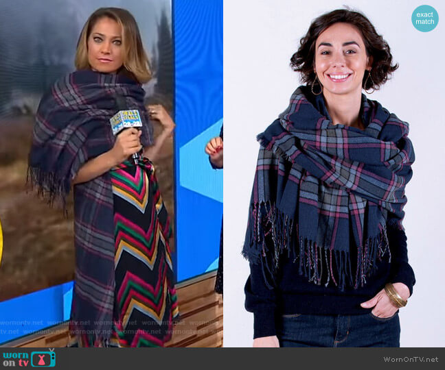 Plaid Wrap Blanket Scarf by Rock Flower Paper worn by Ginger Zee  on Good Morning America