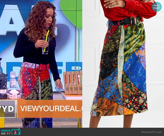 Belted printed cotton-velvet midi skirt by Rosie Assoulin worn by Sunny Hostin  on The View