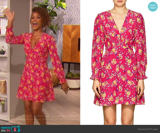 Eve Floral Silk Minidress by Saloni worn by Eve on The Talk
