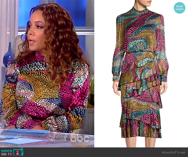 Isa Silk-Blend Printed Midi Dress by Saloni worn by Sunny Hostin on The View