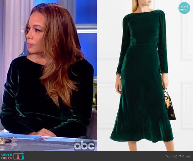 Tina open-back velvet midi dress by Saloni worn by Sunny Hostin  on The View