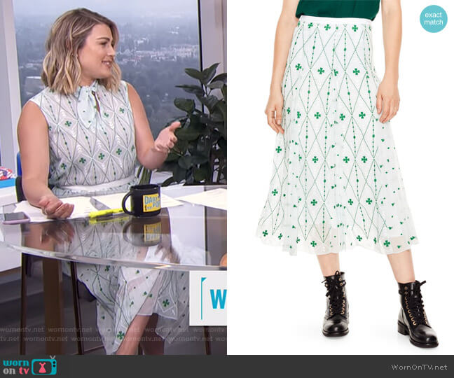 A-Line Print Midi Skirt by Sandro worn by Carissa Loethen Culiner on E! News