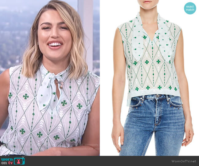 Maylee Sleeveless Print Top by Sandro worn by Carissa Loethen Culiner on E! News