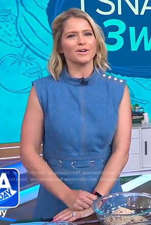 Sara's blue grommet dress with buttons on GMA Day