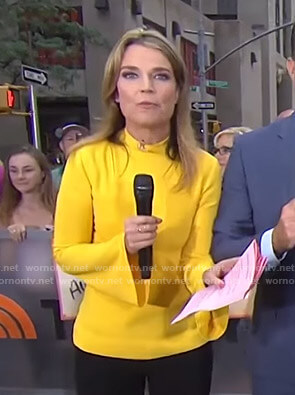 Savannah's yellow mock neck bell sleeve top on Today