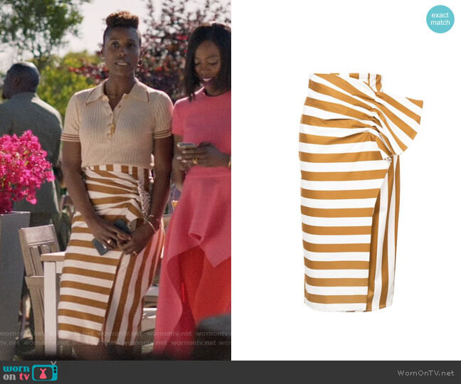 Silvia Tcherassi Stripe and Polka Dot Skirt worn by Issa Rae on Insecure