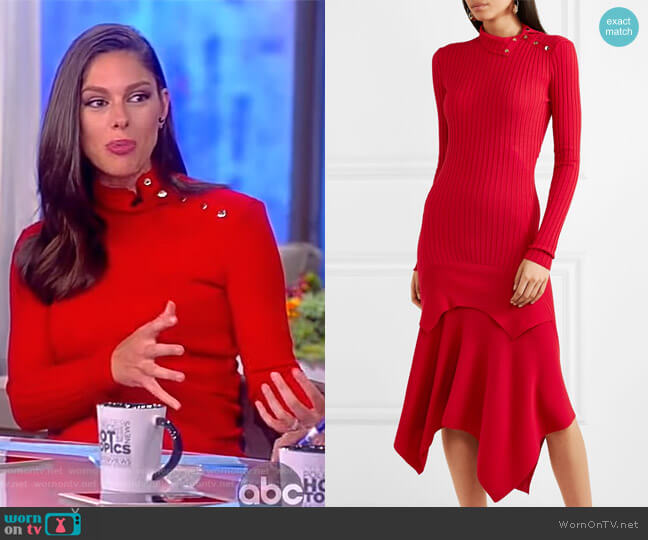 Asymmetric ribbed wool and silk-blend dress by Stella McCartney worn by Abby Huntsman on The View