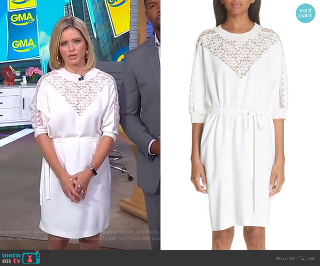 Lace Front Dress by Stella McCartney worn by Sara Haines on Good Morning America