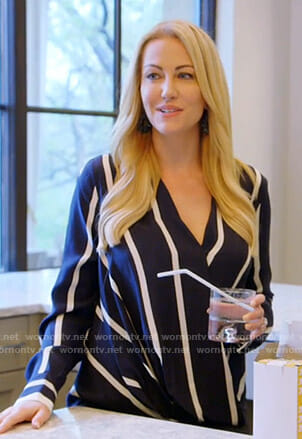 Stephanie's navy striped blouse on The Real Housewives of Dallas