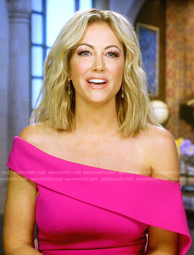 Stephanie's pink draped off-shoulder dress on The Real Housewives of Dallas