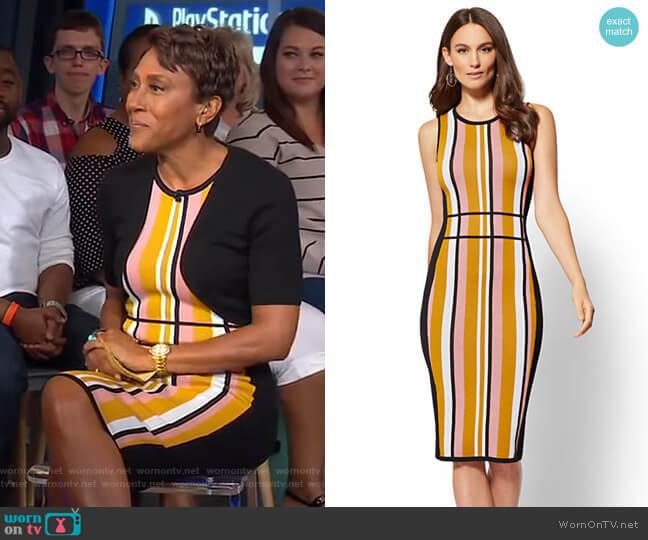 Stripe Sweater Sheath Dress - 7th Avenue by New York & Company worn by Robin Roberts on Good Morning America