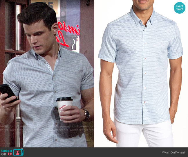 Ted Baker Gudvu Geo Print Sport Shirt worn by Kyle Abbott (Michael Mealor) on The Young & the Restless