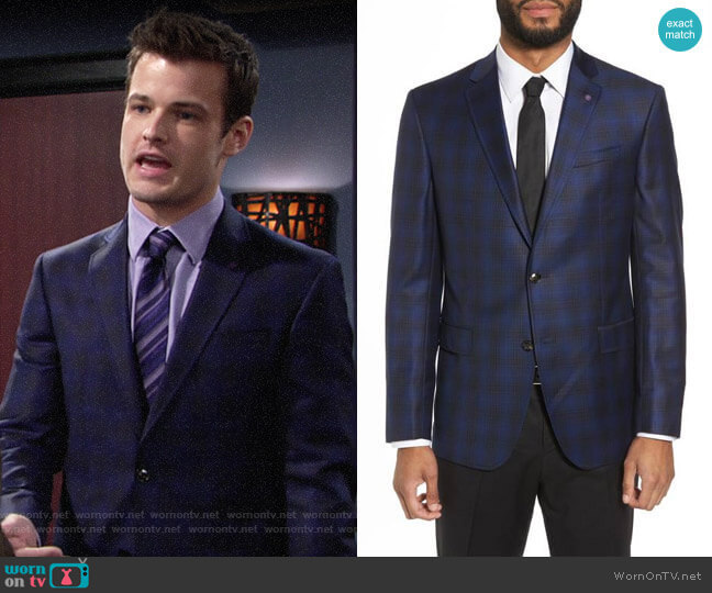 Ted Baker Jay Trim Fit Plaid Wool Sport Coat worn by Michael Mealor on The Young & the Restless