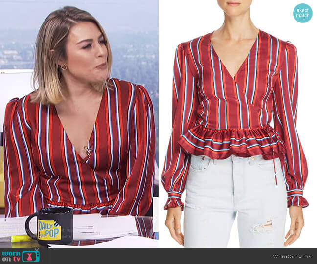 Striped Wrap Top by The Fifth Label worn by Carissa Loethen Culiner  on E! News