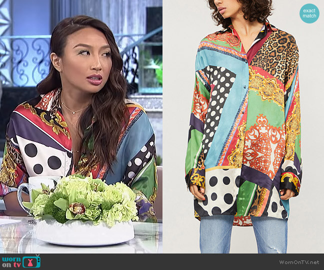 Baroque Printed Silk Shirt by The Kooples worn by Jeannie Mai (Jeannie Mai) on The Real
