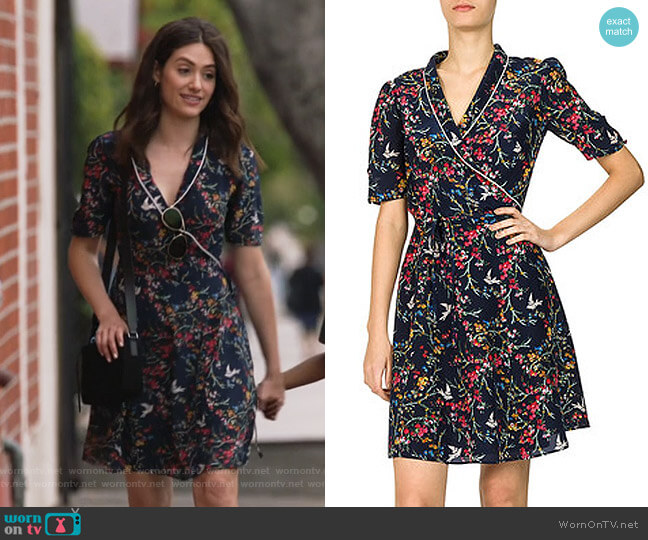 Avian Print Dress by The Kooples worn by Fiona Gallagher (Emmy Rossum) on Shameless