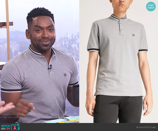 Officer-Collar Polo Shirt by The Kooples worn by Justin Sylvester  on E! News