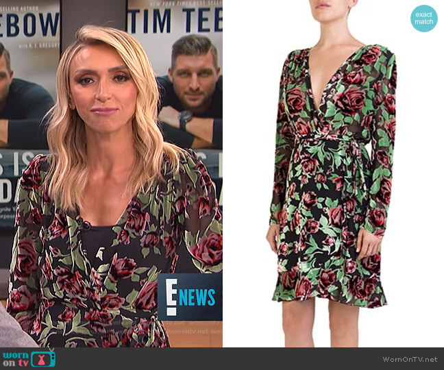 Rose Burnout Velvet Wrap Dress by The Kooples worn by Giuliana Rancic  on E! News