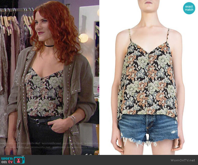 The Kooples Wanted Floral-Print Cami worn by Courtney Hope on The Bold & the Beautiful
