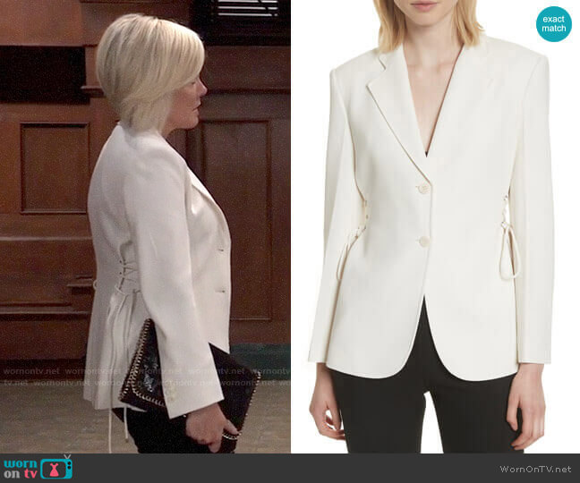 Theory Admiral Lace-Up Crepe Jacket worn by Ava Jerome (Maura West) on General Hospital