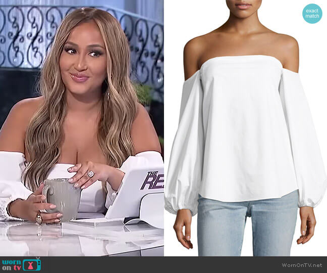 Laureema Off-The-Shoulder Top by Theory worn by Adrienne Houghton  on The Real