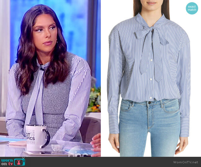 Tie Neck Stripe Cotton Blend Top by Theory worn by Abby Huntsman on The View