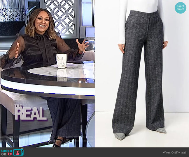 High Rise Palazzo Trousers by Theory worn by Tamera Mowry on The Real