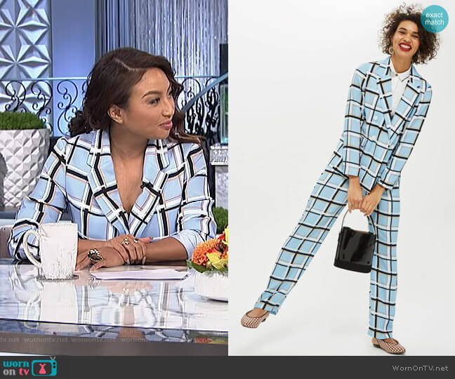 Check Double Breasted Jacket and trousers by Topshop worn by Jeannie Mai  on The Real