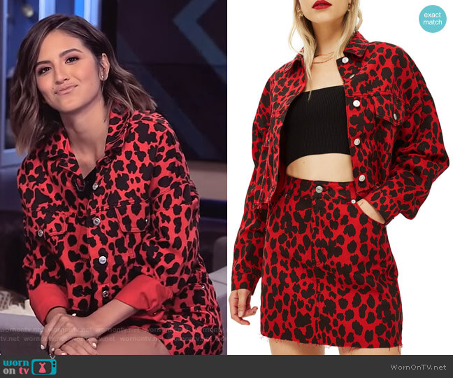 Leopard Print Denim Jacket and Skirt by Topshop worn by Erin Lim on E! News