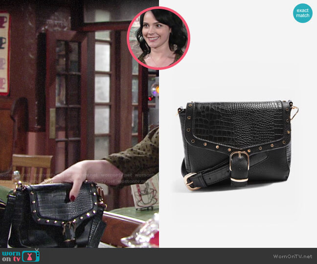 Topshop Romeo Crocodile Effect Cross Body Bag worn by Tessa Porter (Cait Fairbanks) on The Young & the Restless