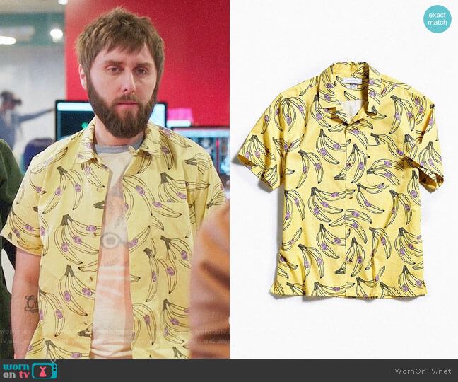 UO Banana Short Sleeve Button-Down Shirt worn by James Buckley on I Feel Bad