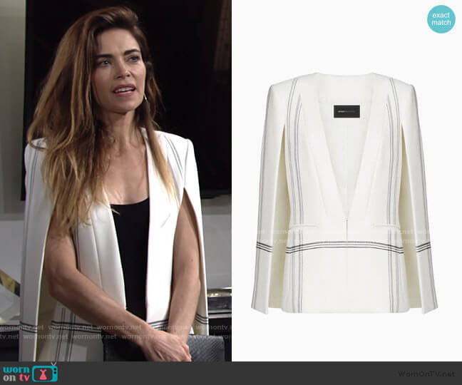 Bcbgmaxazria Upas Striped Cape worn by Victoria Newman (Amelia Heinle) on The Young & the Restless