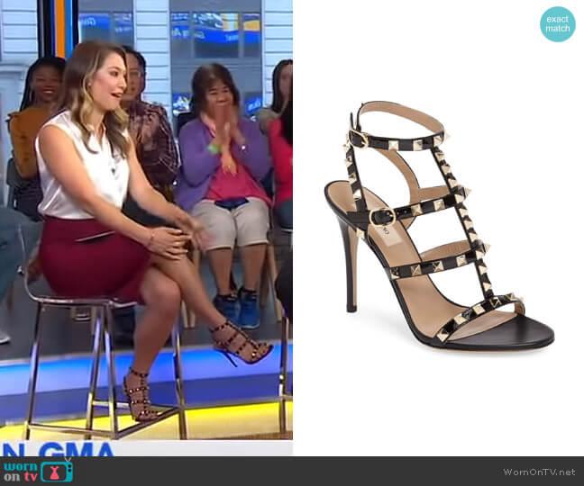 Rockstud Sandal by Valentino Garavani worn by Ginger Zee (Ginger Zee) on Good Morning America