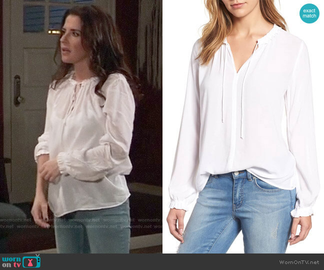Velvet by Graham & spencer Ruffle Tie Neck Top worn by Sam McCall (Kelly Monaco) on General Hospital