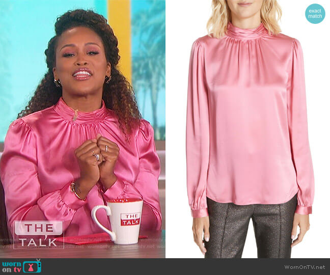 Chilton Bow Back Silk Blouse by Veronica Beard worn by Eve  on The Talk