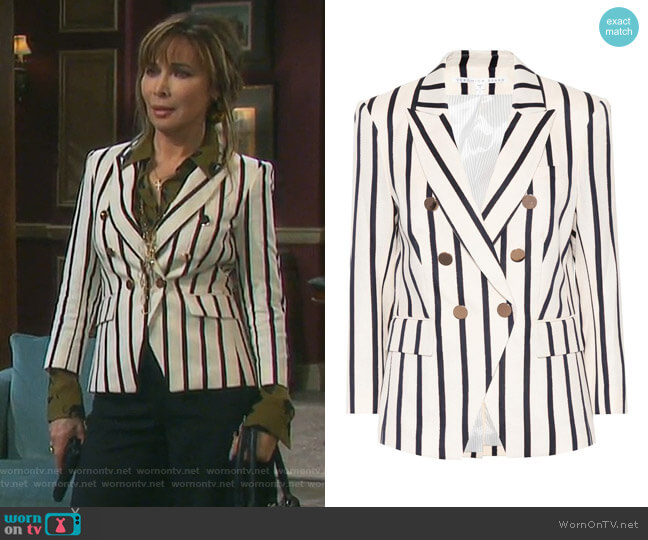 Empire striped dickey blazer by Veronica Beard worn by Lauren Koslow on Days of our Lives