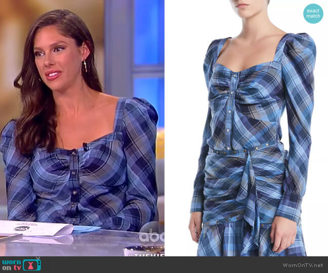 Frankie Plaid Puff-Sleeve Button-Front Top by Veronica Beard worn by Abby Huntsman on The View
