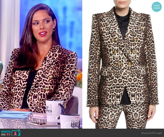 Miller Double-Breasted Leopard-Print Jacket by Veronica Beard  worn by Abby Huntsman on The View