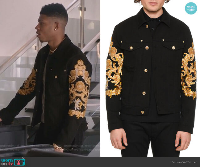 Baroque-Print Denim Jacket by Versace worn by Hakeem Lyon (Bryshere Y. Gray) on Empire