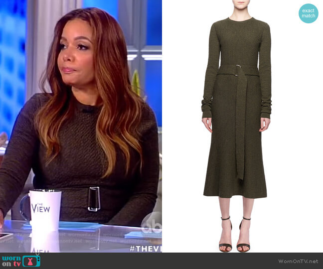 Jewel-Neck Long-Sleeve Belted A-Line Wool Midi Dress by Victoria Beckham worn by Sunny Hostin  on The View