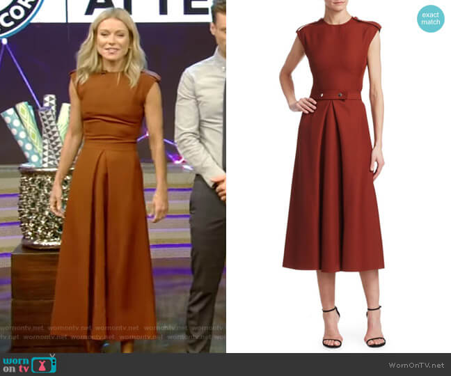 Technical Belted A-Line Midi Dress by Victoria Beckham worn by Kelly Ripa  on Live with Kelly & Ryan