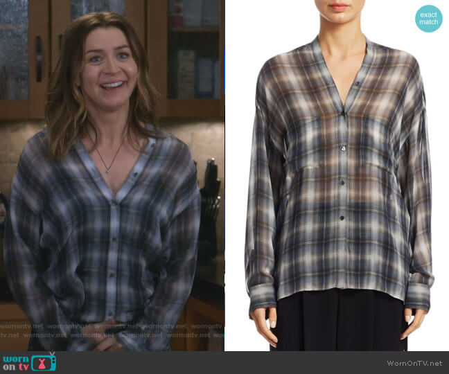 Shadow Plaid Silk Blouse by Vince worn by Caterina Scorsone on Greys Anatomy