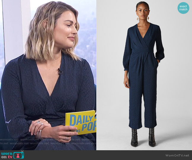 Animal Jacquard Wrap Jumpsuit by Whistles worn by Carissa Loethen Culiner on E! News