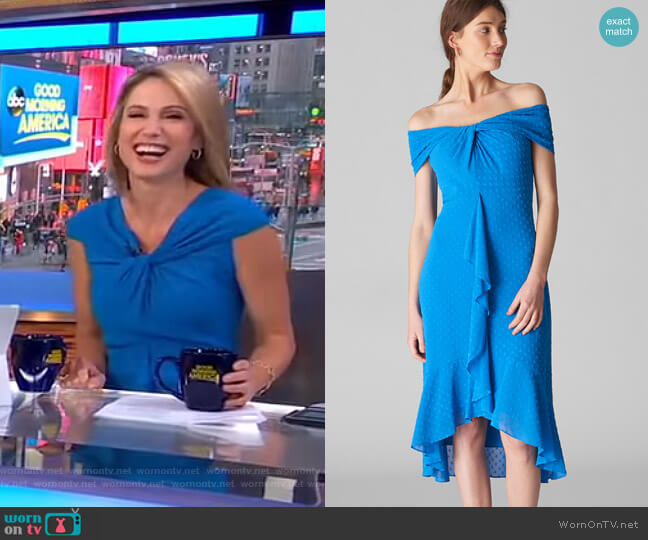 Eriko Dobby Bardot Dress by Whistles worn by Amy Robach (Amy Robach) on Good Morning America